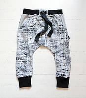 Летние легкие хлопковые штанишки гаремы с карманами газетка. Унисекс. Размер 86, 92 см, фото 1
