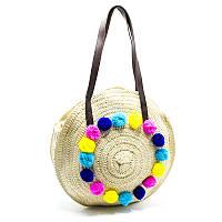 Плетеная сумка из соломы Pom poms