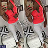 Майка женская с цепочкой. Размер S, M. Ткань турецкая вискоза, цвет белый, чёрный, серый, неон коралл, фото 2