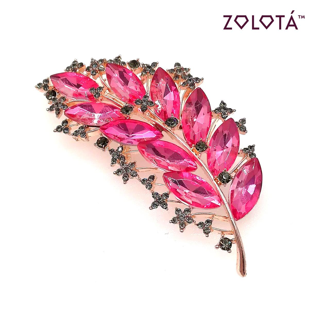 """Брошка """"Перышко"""" с розовыми и серыми фианитами (куб. цирконием), в позолоте, ЗЛ00254 (1)"""