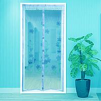 Дверная антимоскитная шторка на сплошном магните Голубой Ажур