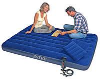 Матрас INTEX 68765 Велюровый 203-152-22см +две подушки и насос, синий