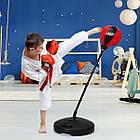 Детский тренажер для бокса Sport Toys Punching Ball | напольная боксерская груша на подставке + перчатки, фото 4