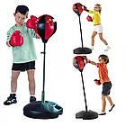 Детский тренажер для бокса Sport Toys Punching Ball | напольная боксерская груша на подставке + перчатки, фото 9