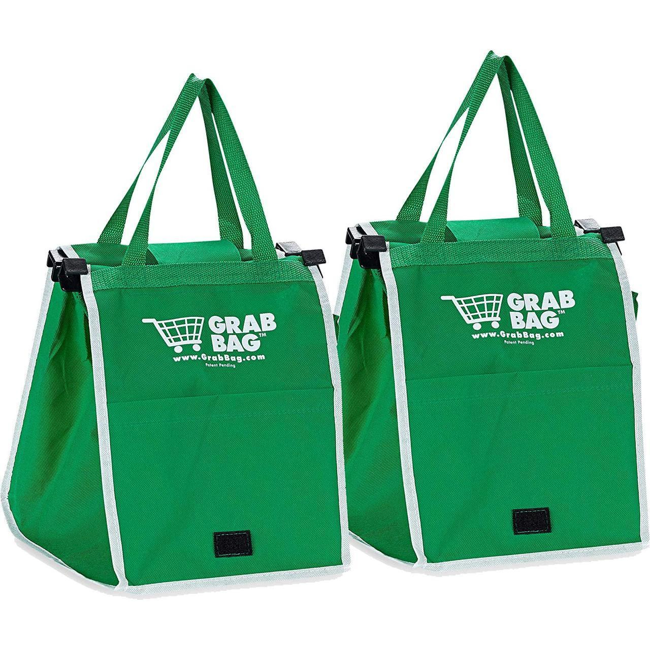 Складная хозяйственная сумка для покупок Grab Bag (2 шт.) Snap-on-Cart Shopping Bag