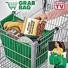 Складная хозяйственная сумка для покупок Grab Bag (2 шт.) Snap-on-Cart Shopping Bag, фото 3
