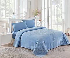 Махровое покрывало/простынь TAC Dama Blue 200×220