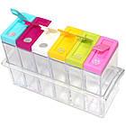 Кухонная подставка для хранения приправ и специй с 6-ю емкостями Seasoning Six Piece Set | спецовник 6 шт, фото 4