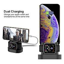 Зарядная подставка для Apple Watch  и iPhone 2 в 1 силиконовая черная, фото 2
