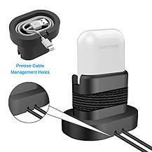 Зарядная подставка для Apple Watch  и iPhone 2 в 1 силиконовая черная, фото 3