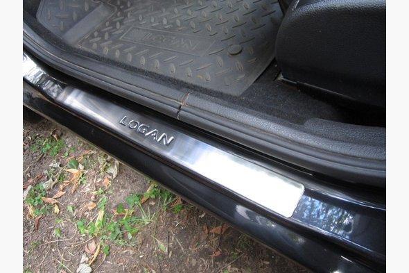 Накладки на пороги OmsaLine (4 шт, нерж.) Renault Logan MCV 2008-2013 гг.