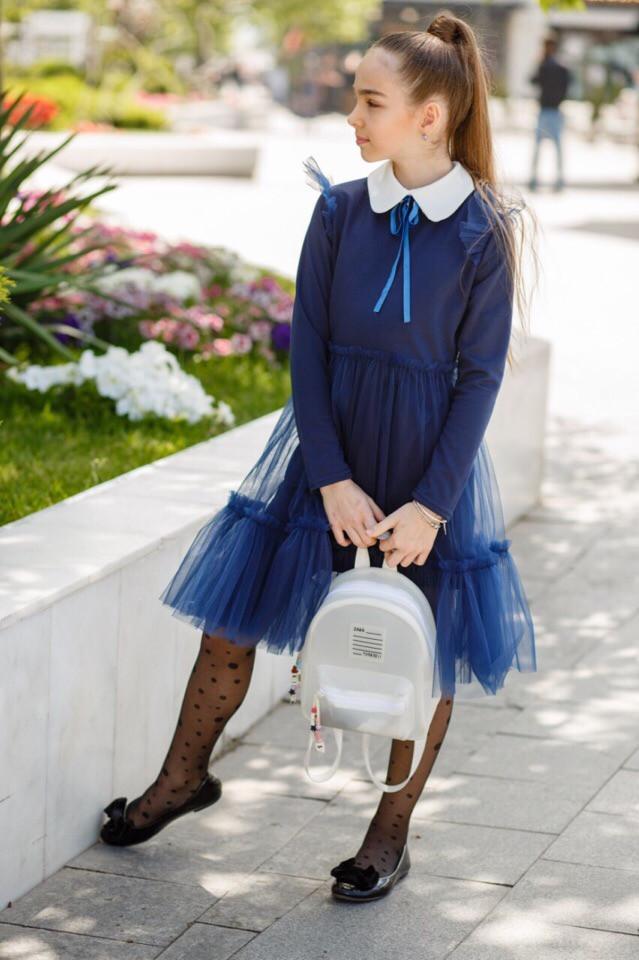Школьное платье для девочки белый воротник,юбка с сеткой