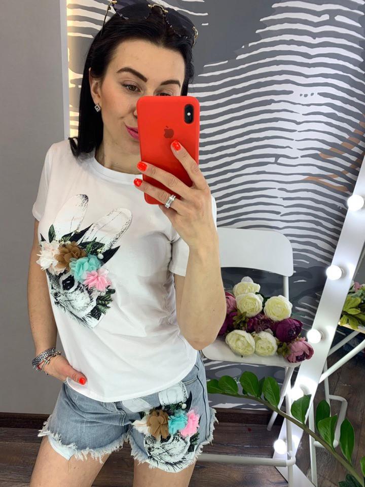 Костюм футболка+шорты,ткань: трикотаж и деним. Размер: М-90/92 Л-92/94 . Разные цвета (0572)