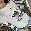 Костюм футболка+шорты,ткань: трикотаж и деним. Размер: М-90/92 Л-92/94 . Разные цвета (0572), фото 2