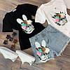 Костюм футболка+шорты,ткань: трикотаж и деним. Размер: М-90/92 Л-92/94 . Разные цвета (0572), фото 8