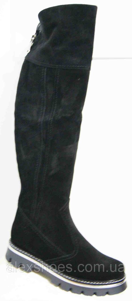 Ботфорты женские зимние большого размера из натуральной замши от производителя модель В5275