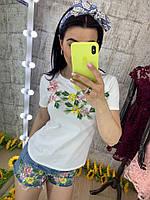 Летний костюм футболка+шорты,ткань: трикотаж и деним. Размер: С-88/90 М-90/92. Разные цвета (121)