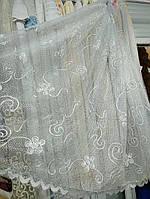 Тюль сетка вышитая шнуром белая, оптом. Высота 2 м,, фото 1