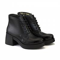 Кожаные ботинки на массивном каблуке