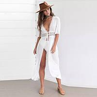 Женская легкая платье, пляжная туника, белый цвет M, L