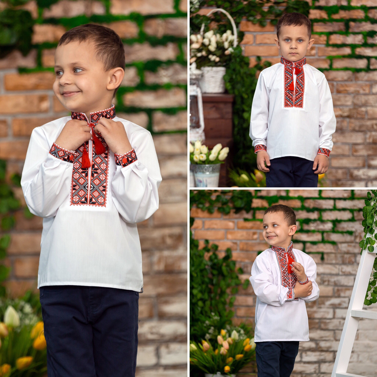 Вишиванка для хлопчика з червоним орнаментом
