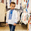 Вишиваночка для хлопчика з голубим орнаментом, фото 4