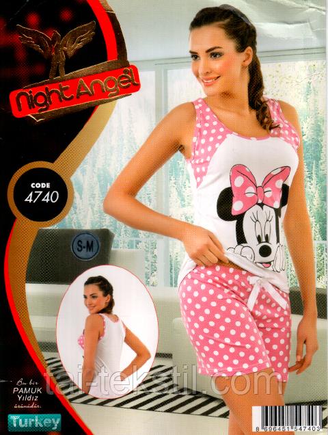 Пижама майка с шортами качество лайкра Night Аngel № 4740
