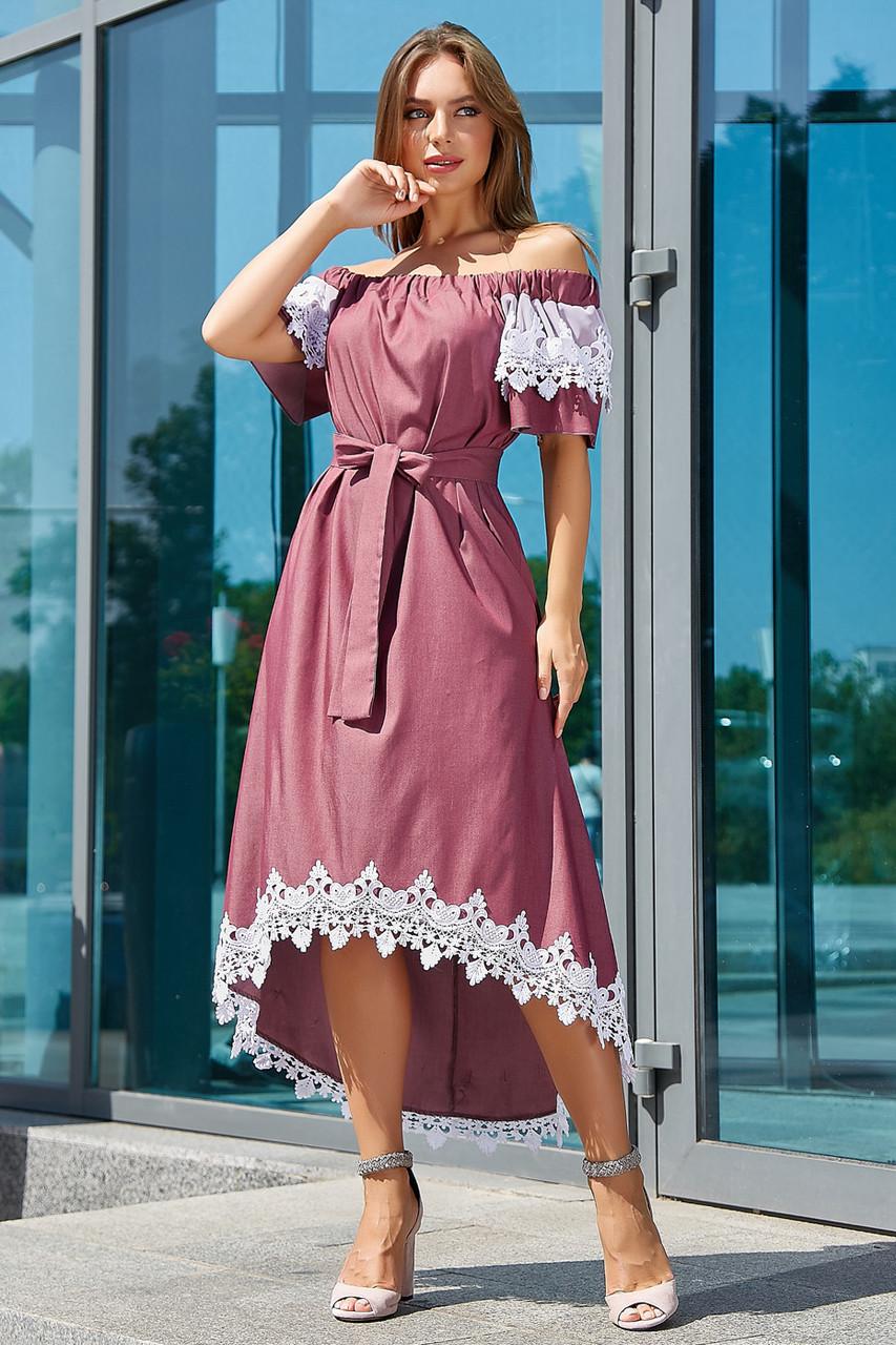 Красивое коттоновое асимметричное платье 3533 (44–50р) в расцветках