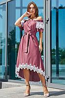 Красивое коттоновое асимметричное платье 3533 (44–50р) в расцветках , фото 1