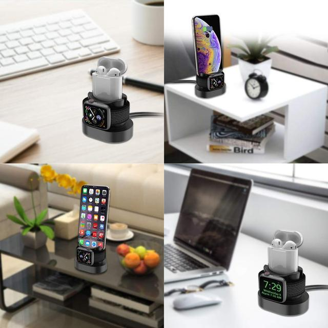 Зарядная подставка для Apple Watch  и iPhone  силиконовая черная