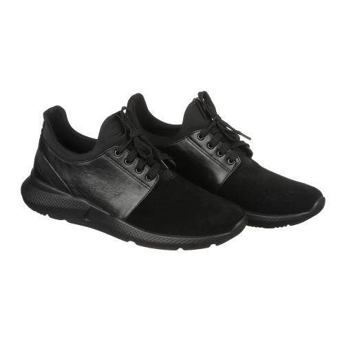Мужские кожаные кроссовки черного цвета