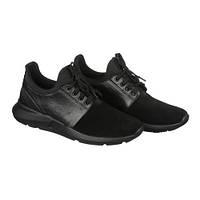 Мужские кожаные кроссовки черного цвета, фото 1