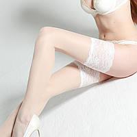 Чулки ажурные самодержащиеся Bellissima 20 den.Цвет белый размер 3/4