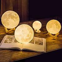 Ночник в виде Луны 3D Moon Light 7,5 см сенсорный 3 режима