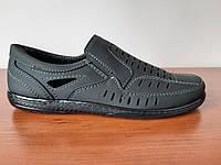 Туфлі чоловічі літні чорні нубук прошиті (код 745), фото 1