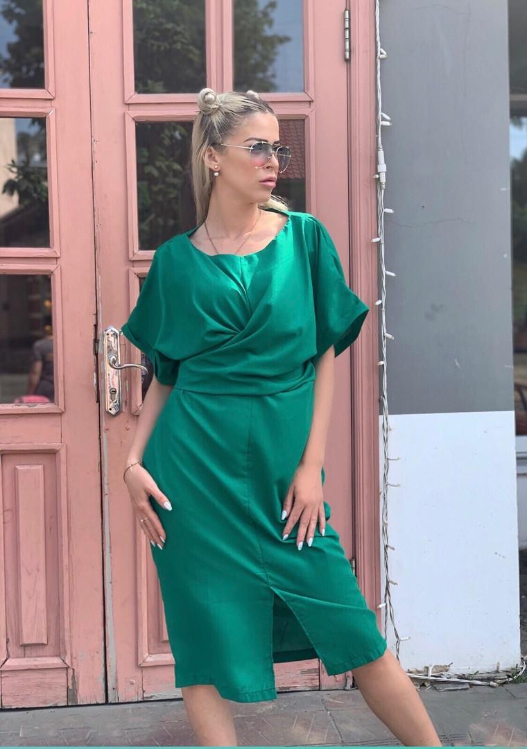 Платье женское длинное из штапеля с разрезом (К27691)