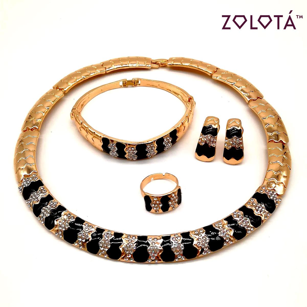 Комплект (Колье + браслет + серьги + кольцо) с фианитами (куб. цирконием) и ювелирной эмалью, в позолоте, НБ00030 (1)