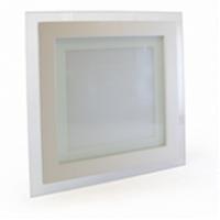 Светодиодный светильник Glass Rim Metal 6W квадратный, стекло, точечный