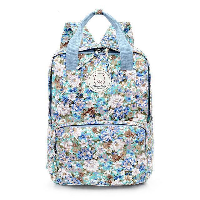 Стильні міські рюкзаки з квітами KingLong Блакитний