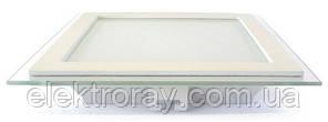 Светодиодный светильник со стеклом Biom 6W 4200k встраиваемый квадратный белый, фото 2