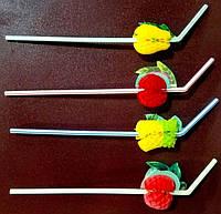 Трубочка пластиковая с изгибом и декоративной фруктой разных цветов L 240 мм (уп 50 шт)