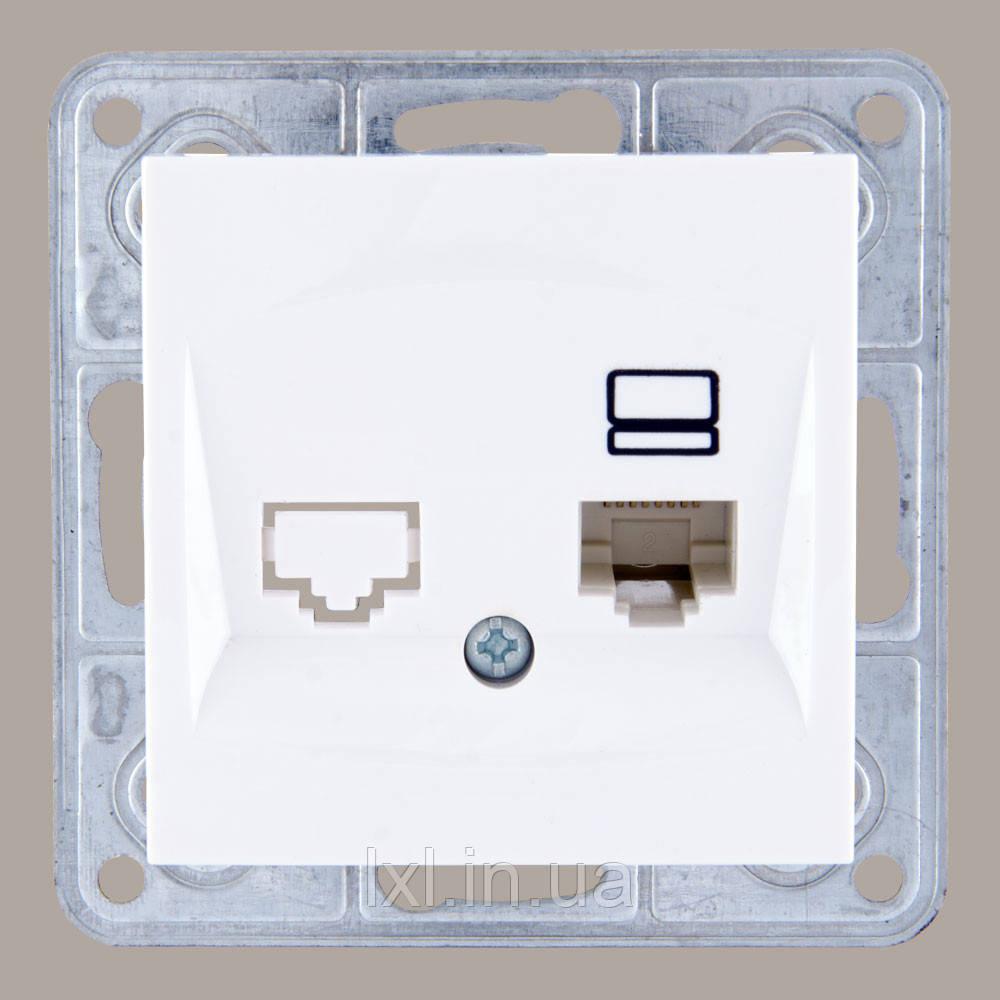 Розетка компьютерная кат. 5Е белая