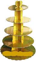 Стенд пятиярусный картонный круглый для капкейков золотого цвета с голограммой (шт