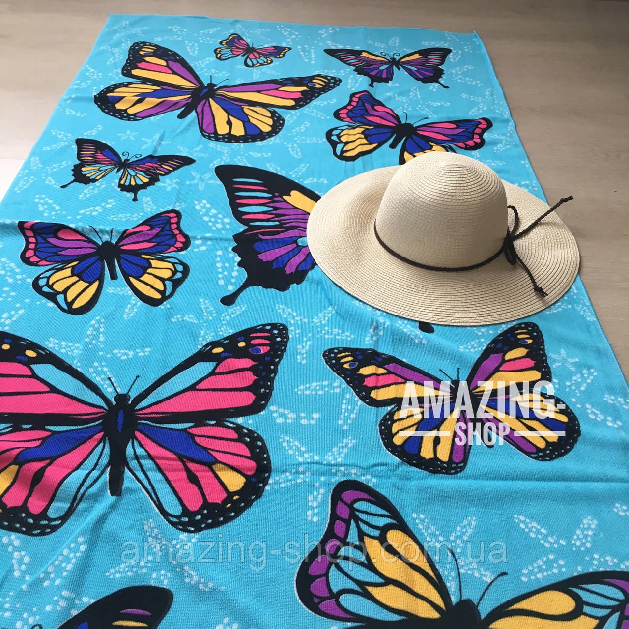 """Пляжний рушник   Пляжний плед   Пляжний килимок   """"Метелики"""" Розмір 170*86 див."""