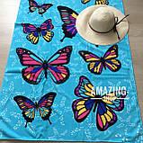 """Пляжний рушник   Пляжний плед   Пляжний килимок   """"Метелики"""" Розмір 170*86 див., фото 4"""