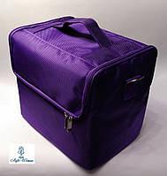 Сумка кейс бьюти из текстиля для мастеров фиолетовая на змейке