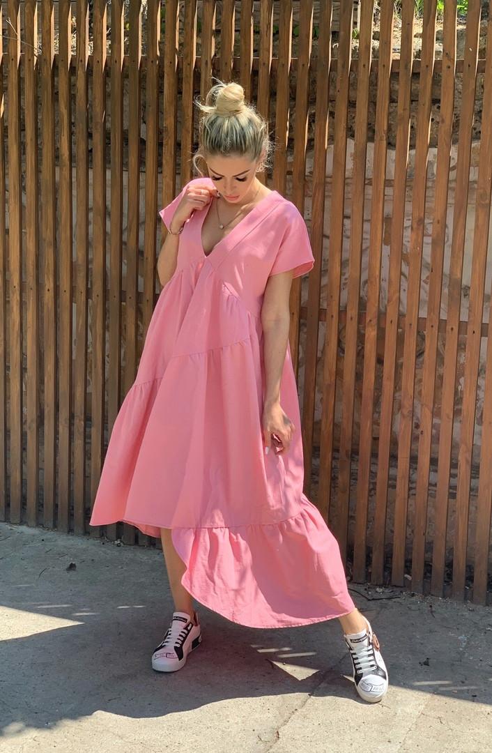 Платье женское длинное из льна свободного кроя (К27692)