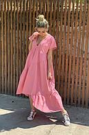 Платье женское длинное из льна свободного кроя (К27692), фото 1