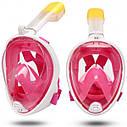 Полнолицевая панорамная маска для плавания UTM FREE BREATH (L/XL) Розовая с креплением для камеры, фото 3