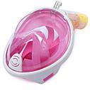 Полнолицевая панорамная маска для плавания UTM FREE BREATH (L/XL) Розовая с креплением для камеры, фото 4